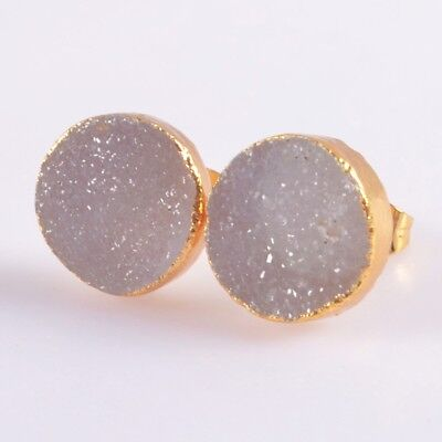12mm Round Natural Agate Druzy Geode Stud Earrings Gold Plated H102861