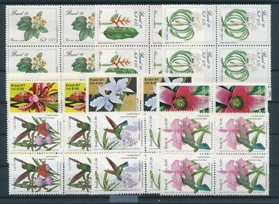 [G91562] Brazil Birds/Flora good lot Very Fine MNH stamps in blocks of 4