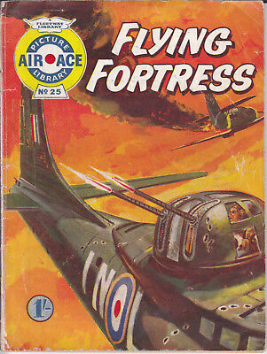 """Fleetway AIR ACE Picture Library 25 """"Flying Fortress"""" Digest Size (1960)"""