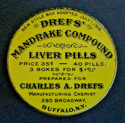 Antique DREFS MANDRAKE COMPOUND Liver Pills Advertising Tin