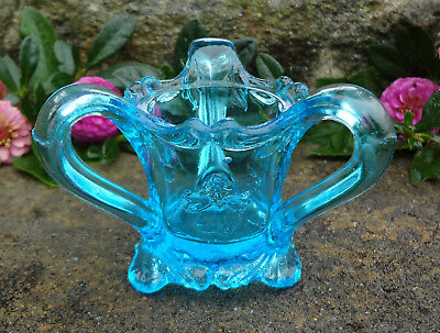 Kemple Blue Glass Pansy Toothpick Holder w/Three Handles!