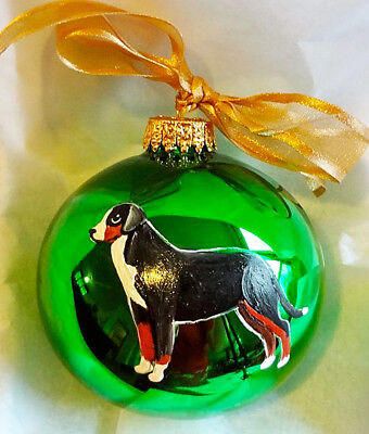 Greater Swiss Mountain Dog Hand Painted Glass Christmas Ornament - with Name