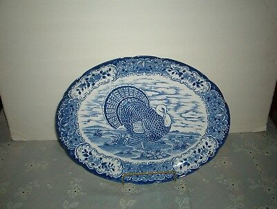 Vintage ***blue And White Transferware**** Turkey Platter**** 16 By 12 Inches**