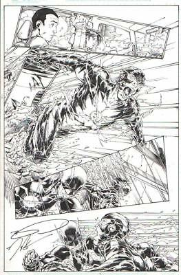 Brett Booth 2014 Future Flash Vs. Reverse Flash Original Art-Free Shipping!
