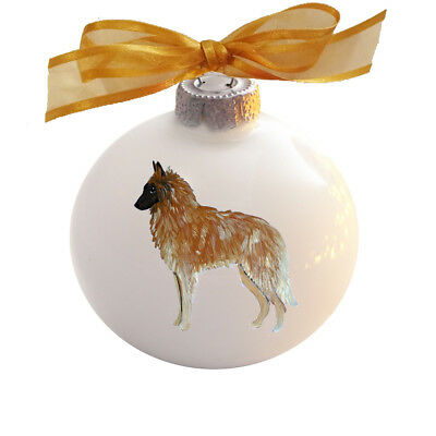 Belgian Tervuren Dog Hand Painted Glass Christmas Ornament - with Name
