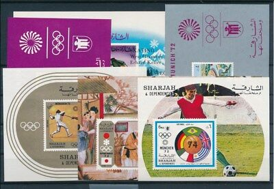 [G93229] Sharjah Olympics 6 good imperforated sheets Very Fine MNH