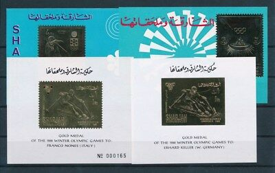 [G93233] Sharjah Olympics 4 good Airmail Gold stamps perf./imperf. VF MNH