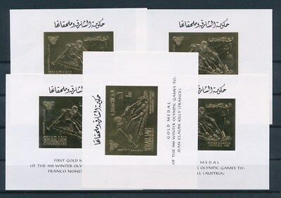 [G93238] Sharjah 1968 Olympics 5x good Gold imperf. stamp Very Fine MNH