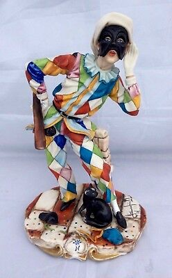 Vintage Capodimonte Masked Harlequin Porcelain Figurine. signed W SCAPINELLO