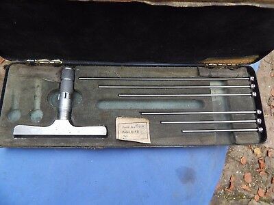 Vintage Moore & Wright depth micrometer set