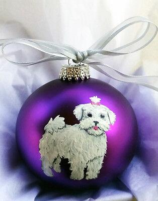 Maltese Puppy Maltipoo Dog Hand Painted Glass Christmas Ornament - with Name