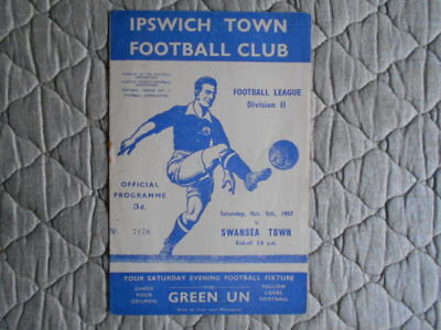 Ipswich V Swansea Second Division Match Programme October 1957