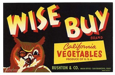 WISE BUY Brand, Winking Owl, Bird *AN ORIGINAL PRODUCE CRATE LABEL* 631