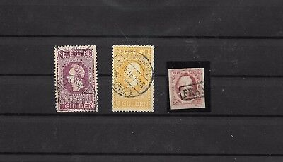 Netherlands #1 + 1gld and 5gld 1913 used (#8507a)