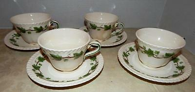 4 Sets Royal Gadroon HARKER POTTERY  Green Ivy CUPS And SAUCERS - 8 Pieces