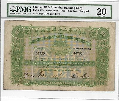 China, Hong Kong Bank, Shanghai - $10, 1923. Handsigned. PMG 20. RARE.