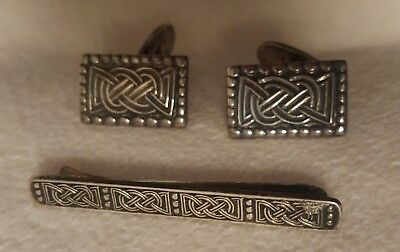 Norwegian Norge Sterling Silver Cufflinks and matching Tie Clip w/ Viking Motif