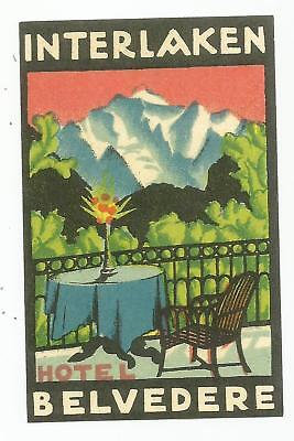HOTEL BELVEDERE luggage SUISSE label (INTERLAKEN)