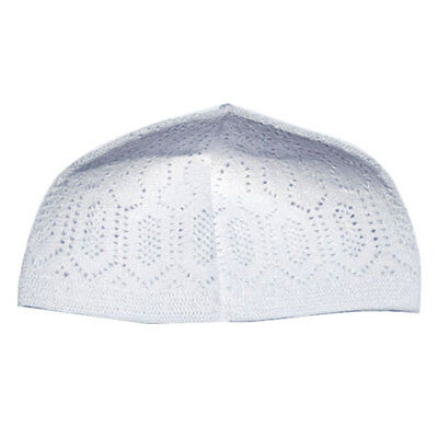 White Cotton Machine Knit OneSize Turkish kufi Muslim Taqiyah Hat Moslem Kofiyah