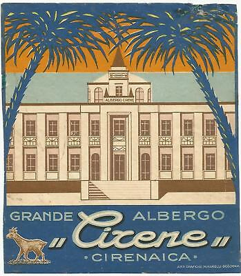 HOTEL GRANDE ALBERGO CIRENE luggage LIBYA COLONY label (CIRENAICA)