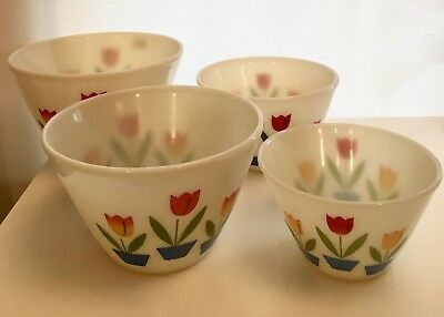 Vintage Fire King Oven Ware Nesting Tulip Mixing Bowls Lot of 4