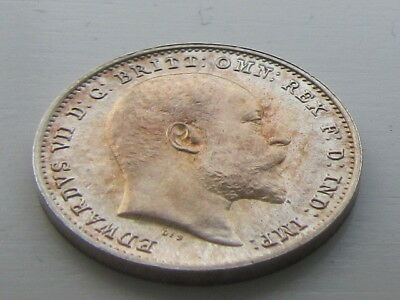 Edward VII Silver Maundy 3D Threepence 1907, Stunning Blue & Red Tone.