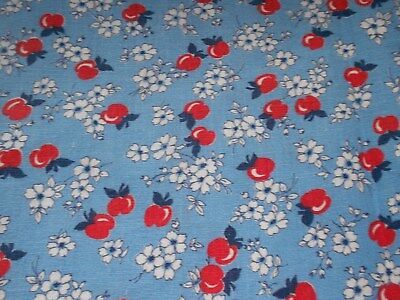 VINTAGE 40's FESTIVE RED & BLUE APPLES FEED SACK COTTON FABRIC
