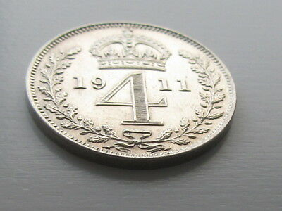 George V 1911 Silver Maundy 4D Fourpence, Very High Grade.