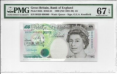 Great Britain, Bank of England - 5 pounds, 1990 (ND 1991-98). PMG 67EPQ.