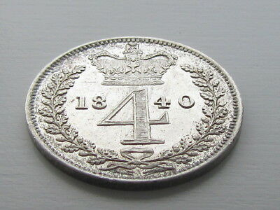 Victoria 1840 Silver Maundy 4D Fourpence, Very High Grade.