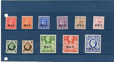 G.B. Overprints - M.E.F. x set of 11 from 1942 - Hinged Mint