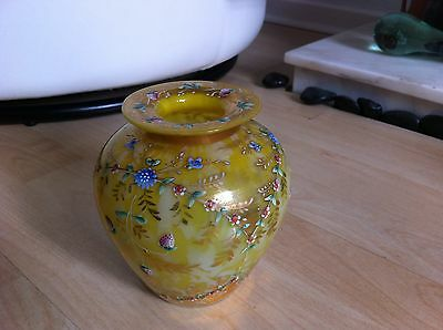 Vintage Victorian Yellow Glass - Hand Enameled With Fruit Flowers And Gilt Leaf