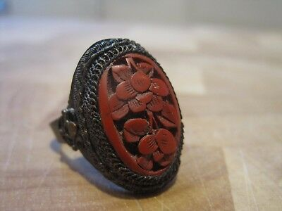 1890s Antique Chinese carved red cinnabar lacquer adjustable ring, wire detail