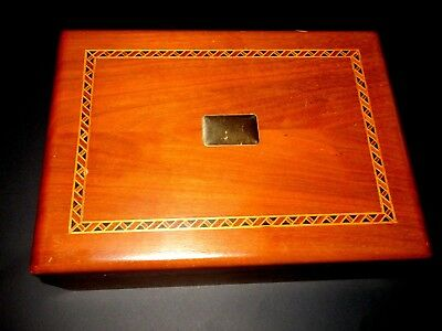 Decatur Walnut  Humidor  With Inlay  Excellent Condition --Colwright