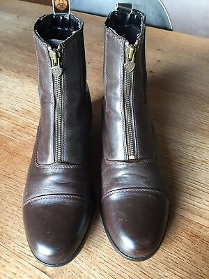 Women's ARIAT brown leather zip paddock ankle boots, size UK6/39.5