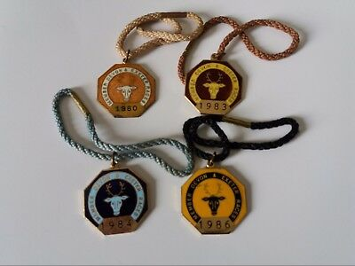 4 X Annual Members' Badges ~ Devon & Exeter  1980,1983,1984,1986