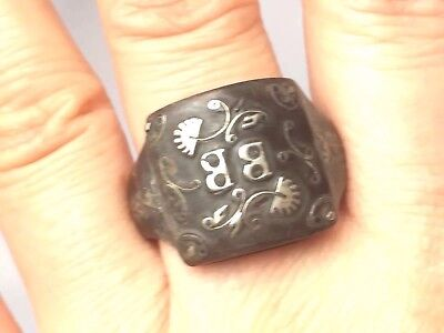 Antique Victorian Pique Faux Tortoiseshell Silver Inlay Ring -uk Size Q