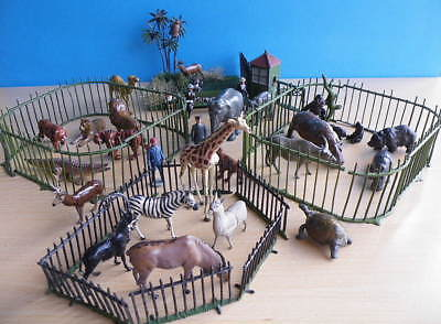 Vintage Instant Zoo 54mm Large 60+ - Lead Animals + Keepers + Fences + Visitors