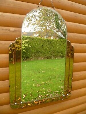 Art -Deco Mirror with Peach Coloured side Glass Panels + Base edge
