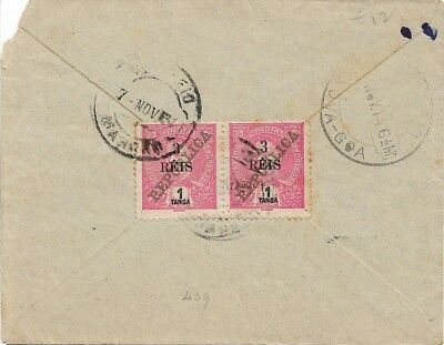Portuguese India - Cover with pair of surcharges 3r/1T Mouchon Nov 1914