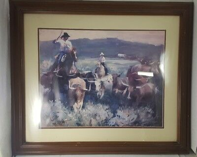 Vintage OIL PAINTING PRINT F. Conrad Western Scene FRAMED SIGNED Cattle Herd ART