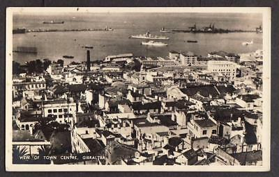 REAL PHOTO POSTCARD THE ROCK FROM THE AIR TOWN CENTRE GIBRALTAR c1945