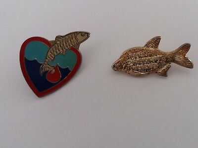 2 x FISHING / ANGLING BADGES ~ NENE CHAMPIONSHIP - NENEMAN &  ENAMEL HEART