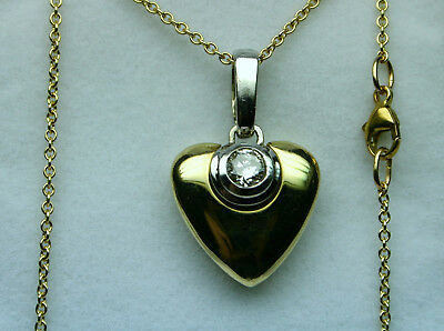 Diamond heart solitaire necklace 0.40ct 1990's No Reserve! 14kt y gold heavy !