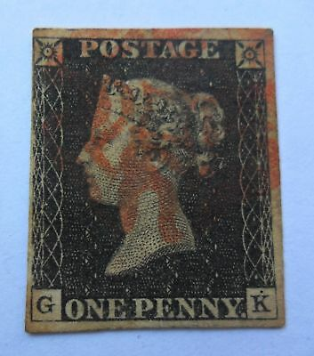 1840 1 penny black Victoria - used - fine condition (GK)- 3 margins - red cancel