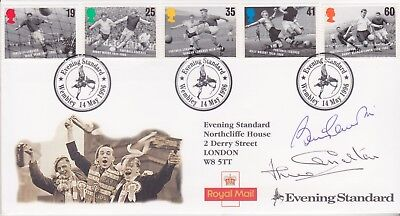 Stamp Football First Day Cover Signed England 1966 Legends Bobby & Jack Charlton