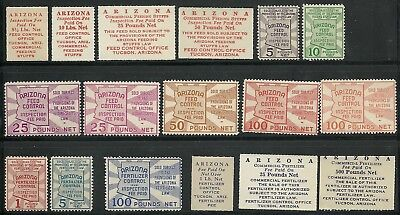Arizona State Revenue Feed & Fertilizer Tax Paid Stamps, 17 different