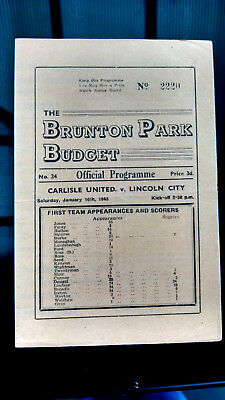 1947/8 Carlisle United v Lincoln City. 4 pages. Excellent cond.