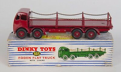 Dinky 905 Foden Flat Truck with Chains. Maroon. Near-MINT/Boxed. Original 1950's