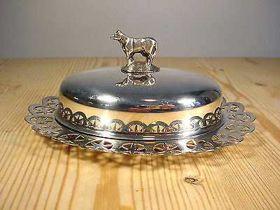 Silver Plate & Glass Oval Cow Topped Butter Dish